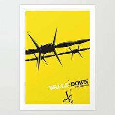 Walls Down for freedom Art Print by Alejandro Ayala