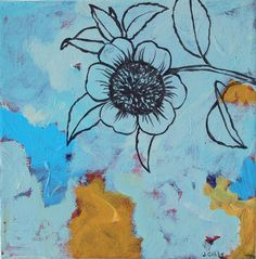 by Jennifer Gibbs  original art, painting, sunflower, blue, line