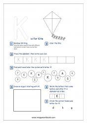 Lowercase Alphabet Recognition Activity Worksheet - Small Letter - k for kite Alphabet Writing Practice, Alphabet Tracing, Alphabet Activities, Pre Writing, Writing Skills, Free Printable Worksheets, Printable Alphabet, Printables, Rainbow Writing