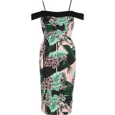 River Island Green tropical bardot bodycon midi dress ($100) ❤ liked on Polyvore featuring dresses, bodycon dresses, green, women, cami bodycon dress, tall cocktail dresses, bodycon cocktail dress, bodycon dress and mid calf dresses
