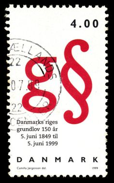 Stamp - 150 years anniversary for the Kingdom of Denmark's Constitution