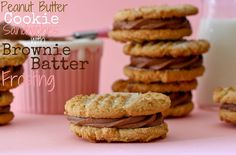 Peanutbutter Cookie Sandwiches with Brownie Batter Frosting-Yum by CookbookQueen