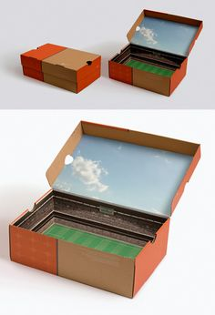 It's been kicking around for a few years but this beautiful packaging design from Nike, turning the inside of a shoe box into a stadium Cool Packaging, Brand Packaging, Product Packaging, Design Packaging, Custom Packaging, Packaging Ideas, Shoe Box Design, Design Creation, Sneakers Box