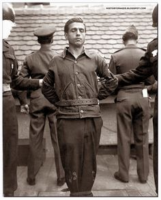 Anton Klein a warden at the Mauthausen-Ebensee concentration camp moments before his hanging on November 5, 1948 at Landsberg, Germany.