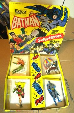 ".and Robin(PENGUIN AND JOKER ARE NOT INCLUDED). All the 4"" Stickers are un-used except the one Superman. The display box is very cool and colorful and features several different characters. The top flap IS detached and was for display purposes I'm sure. 