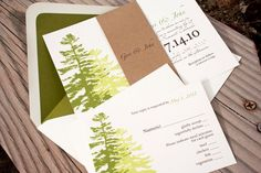 Two Pine Tree Wedding Invitation - Lovely Green Forest with Wrap - Design Fee