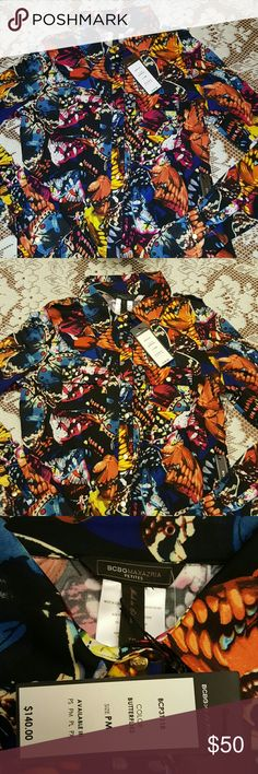 Vibrant and bold!  Make a statement in this blouse Rich colors and butterfly design offers a wonderfully unique look. Brand new. Size Petite Medium. BCBGMaxAzria Tops Blouses