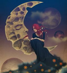 fantasy art, girl sleeping by the light of the moon