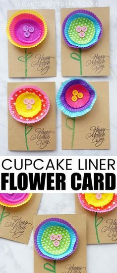 This fun cupcake liner flower Mother's Day card is a simple kid-made Mother's Day Card for toddlers and preschoolers to make for a Mother's Day craft. They can be whipped up in a jiffy and preschooler Mothers Day Crafts For Kids, Mothers Day Cards, Gifts For Mothers Day, Mothers Day Ideas, Fathers Day Art, Classroom Crafts, Preschool Crafts, Toddler Preschool, Cupcake Liner Flowers