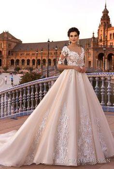 crystal design 2017 bridal half sleeves sweetheart neckline heavily embellished bodice blush color princess ball gown a line wedding dress low back royal train (gemma) mv