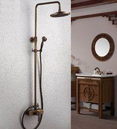202 gbp Antique Copper Shower Faucet w/ 8 inch Shower Head + Hand Shower  HKB638656L