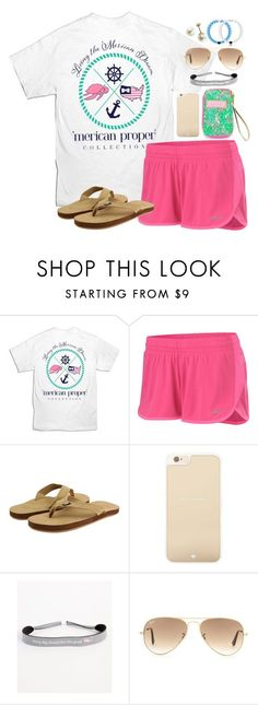 Merican proper by lauren-hailey ❤ liked on Polyvore featuring NIKE, Vineyard Vines, Kate Spade, Lilly Pulitzer and Ray-Ban
