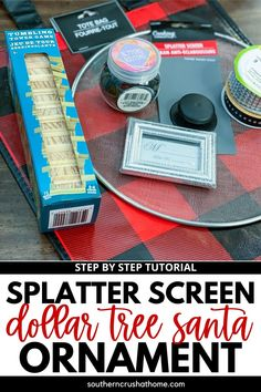 This cute Dollar Tree Splatter Screen Ornament is great for placing on your front door or using as part of fun Christmas display. #dollartreediy #christmasdecoration #splatterscreendiy #santaornament #buffalocheckdiy A Christmas Story, Christmas Crafts, Small Picture Frames, Splatter Screens, How To Tie Ribbon, Dollar Store Christmas, Handmade Christmas Decorations, Craft Day, Dollar Tree Crafts