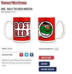 Boston Red Sox Mascot Wally The Green Monster Jumbo Coffee Mug, $20 via YawkeyWayStore.Com --- I fell in love with this mug when I saw it across from Fenway Park in the Yawkey Way Store during the 2014 season, but unfortunately I didn't have enough money to buy it at the time! --- http://www.yawkeywaystore.com/shop/mug-wally-the-green-monster/product/12906.aspx