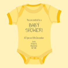 Baby Shower - Online Invitations from Envytations Online Invitations, Invites, Yellow Onesie, Free Baby Shower Invitations, You Are Invited, Baby Online, Babyshower, Cute Babies, Onesies