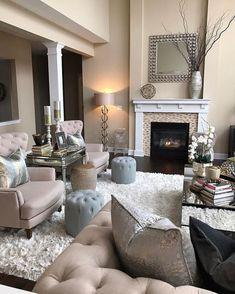 Look at the Ottoman s Warm Colours Living Room, Interior Design Living Room Warm, Cozy Living Room Warm, Family Room Colors, Cozy Family Rooms, Living Room Designs, Living Room With Fireplace, Family Room Decorating, Warm Colors