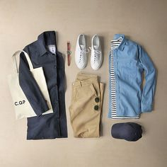 Rain or shine.  Shirt: @corridornyc Spring Perfect Denim Coat: @americantrench Trench Coat Shoes: @cqpgallery Racquet Low T-Shirt: @nautica Cotton/Silk Striped Tee Chinos: @nonationality07 Marco Khaki Cap: @nonationality07 Sunglasses: @davidkind Watch: @hamiltonwatch Khaki Field Auto