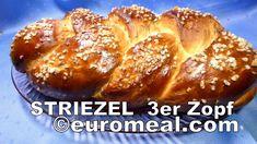 Striezel, leckerer Hefezopf aus 3 Strängen geflochten - euromeal.com Baked Potato, French Toast, Muffin, Potatoes, Breakfast, Ethnic Recipes, Food, Challah, Food Food