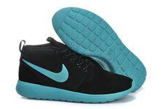 2015 nikes roshe run high top black green men running shoes size 40-44
