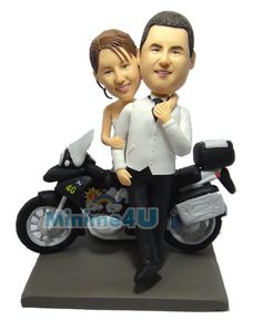 A nice motorcycle wedding cake topper template.,Special unique personalized mini me doll for you or your family which may bring a big impression,we offer personalised doll, your own mini me Unique Cake Toppers, Custom Wedding Cake Toppers, Wedding Cake Decorations, Wedding Cakes, Bike Wedding, Motorcycle Wedding, Bike Silhouette, Biscuit, Bike Cakes