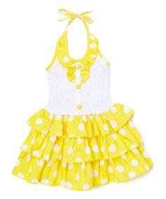 Take a look at this Yellow & White Polka Dot Halter Dress - Toddler & Girls today!