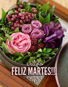 Feliz Martes / Feliz Día / Martes / Tuesday / Happy Tuesday  / Happy Day / Que pases un lindo día / Buenos Días / Good Morning Table Flowers, Fresh Flowers, Beautiful Flowers, Flower Box Gift, Flower Boxes, Deco Floral, Arte Floral, Bouquet Champetre, Bouquet Box