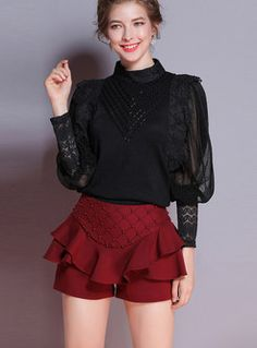 Tops | Blouses | Sexy Lace Splicing Hollow-out Falbala Half Sleeve Blouse Sexy Dresses, Fashion Dresses, Black Chiffon Blouse, Red Fashion, Womens Fashion, Romper Outfit, Red Skirts, Rompers Women, Alternative Fashion