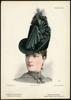 The Prints Collector :: Antique Fashion Print-492-MILLINERY-19TH CENTURY-HAT-HEAD DRESS-Gonin-1886