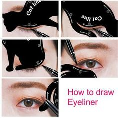 2 pcs/set Fashionable Women Cat Line Eye Makeup Eyeliner Unique Stencils Templates Makeup Tools Kits For Eyes Eyeliner Tools - EyeBrowStencils United States - Shop Online World's Largest Best and Top Collection of EyeBrow Stencil 2020 - - How To Draw Eyeliner, Cat Eyeliner Stencil, Eye Stencil, Makeup Stencils, Cat Eye Eyeliner, Eyebrow Stencil, Simple Eyeliner, Cat Eye Makeup, Eye Makeup Tips