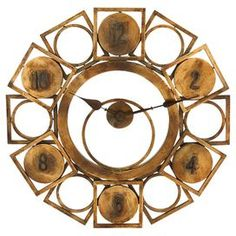 "Industrial-style metal wall clock with a geometric design and bronze finish.   Product: Wall clockConstruction Material: MetalColor: BronzeFeatures: Ideal wall clock for the home office or the master bedroomAccommodates: Batteries are not includedDimensions: 32"" Diameter"