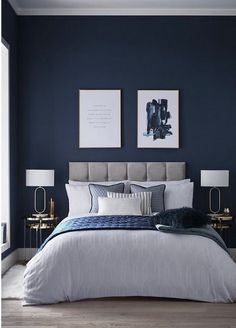 Dark Blue Bedrooms, Blue Master Bedroom, Blue Rooms, Blue Feature Wall Bedroom, Navy Bedrooms, Midnight Blue Bedroom, Master Bedroom Color Ideas, Dark Blue Bedroom Walls, Bedroom Colour Ideas For Couples