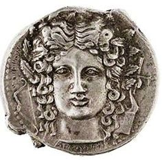Coin with a Head of Apollo and His symbols - circa 450-400 B.C. - at the Paolo Orsi Museum, Syracuse
