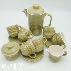 SOLD - Crown Lynn, Novelle Set by Peter Gibbs. Peter Gibbs won the Crown Lynn Design Awards with this design in 1967. An iconic Crown Lynn design that is sought after. This is a full set containing a Coffee Jug, Sugar Bowl, Jug and 6 Cups and saucers in the fantastic Twenty 5 shape. #CrownLynn #PeterGibbs #Novelle #Coffeeset #Vintage #madeinNZ Conversation Starters, Coffee Set, Full Set, Design Awards, Sugar Bowl, Cup And Saucer, Cups, Crown, Shape