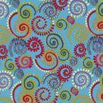 Nel Whatmore Fabric, Katharine's Wheel, Spinning, Turquoise (per 1/4 metre)