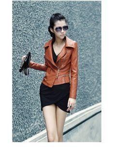 Sin gastos de envo, 2012 otoo caliente de mujer de cuero chaqueta, de cuero de moda abrigo/chaqueta para las mujeres,/marrn negro,/m l.