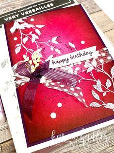 Color Blending, Happy Colors, Happy Birthday Cards, Cobbler, Versailles, Emboss, Blackberry, Card Stock, Bliss