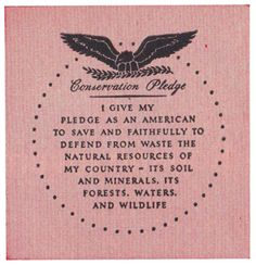 Outdoor Life Conservation Pledge - established 1946