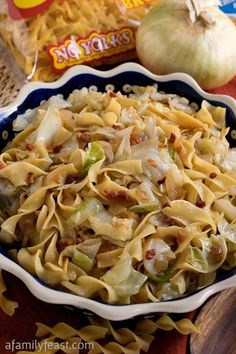 Haluski (Fried Cabbage and Noodles) - A Family Feast - - Haluski - A simple,rustic and traditional dish made with fried cabbage and noodles. Fried Cabbage Recipes, Bacon Fried Cabbage, Baked Cabbage, Noodle Recipes, Vegetable Recipes, Pasta Recipes, Cooking Recipes, Healthy Recipes, Bread Recipes