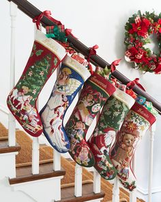 SFERRA Holiday Needlepoint Christmas Stockings, Nostalgic and heartwarming, these delightful Christmas stockings inspire memories as they hang by the chimney year after year.