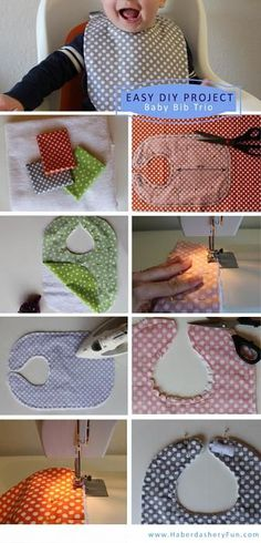 DIY Baby Bib Trio | This is a good pattern to print and simple instructions. 1 Fat quarter will make 2 bibs. Cool!