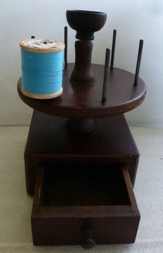 Antique Primitive Sewing Box / Stand w/Drawer Thread Holders Pin Cushion Holder