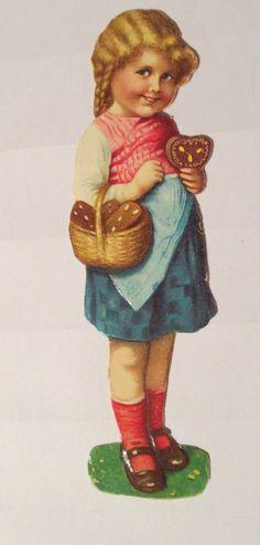 Weihnachten, Kinder, Lebkuchen, Korb  Oblaten & Glanzbilder, 10x3cm ♥