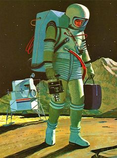 """Fine! I'll go find a lunar module that appreciates me and my films."" (Funny retro space illustration)"