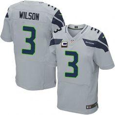 c2a24fbd0f0 Russell Wilson Nike Men's C Patch Seattle Seahawks Alternate Jersey NFL Grey  #3 Elite At