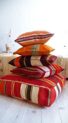 Moroccan Kilim pouf Stripe by lacasadecoto on Etsy