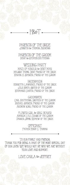 Wedding Program Template Sketched Floral by ParkbenchPaperie