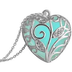 Susenstone Aqua Blue Tree Heart Glow In The Dark Pendant Necklace ($4.50) ❤ liked on Polyvore featuring jewelry, necklaces, heart necklace, pendant necklace, aqua jewelry, heart shaped jewelry and heart jewellery