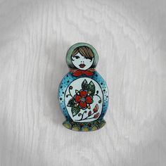 Russian Nesting Doll Pin OOAK