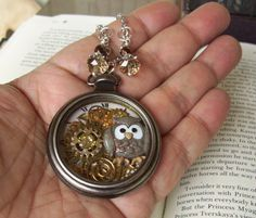 Pocket Watch Necklace (PW600) - Brown Owl and Gears - Swarovski Crystal - Glass Bead Dangles - Silver Pocket Watch Casing