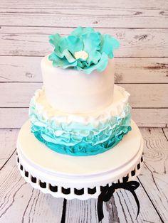 Aqua Ruffle cake by Amy Hart